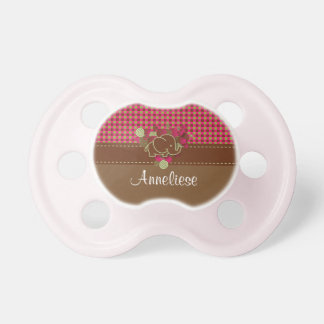 Baby Elephant - Dark Pink, Brown and Green Plaid Dummy