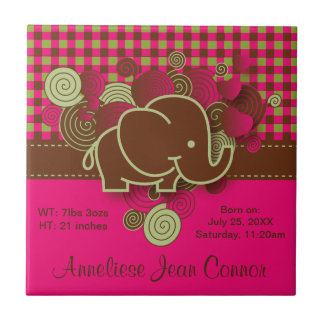 Baby Elephant - Dark Pink, Brown and Green Plaid Small Square Tile