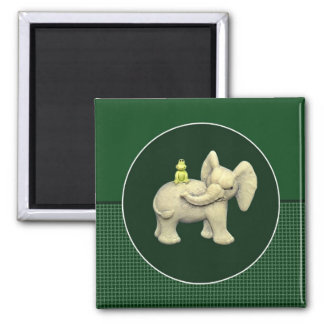 Baby Elephant & Frog Square Magnet