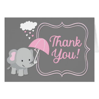 Baby Elephant Girl Baby Shower Pink Thank You Note Card