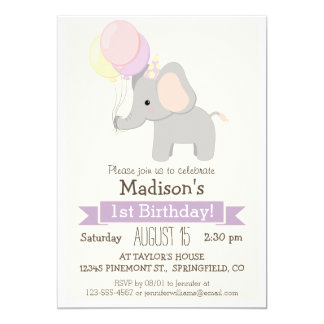 Baby Elephant Girl's Birthday Party Invitation