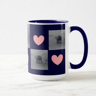 Baby Elephant Hearts Ringer Mug-F-by Fern Savannah Mug