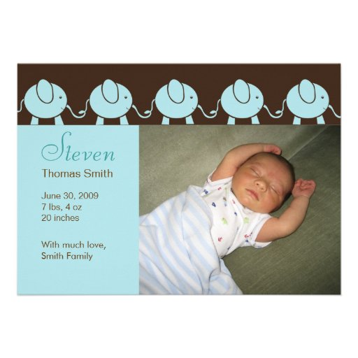 Baby Elephant Parade Birth Announcement - Blue