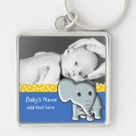 Baby Elephant/Photo Silver-Colored Square Key Ring