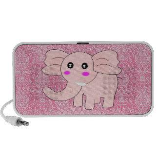 Baby Elephant Pink Damask Portable Speaker