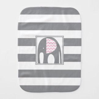 Baby Elephant | Pink & Gray Chevron Stripes Baby Burp Cloths
