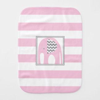 Baby Elephant | Pink & Gray Chevron Stripes Burp Cloths
