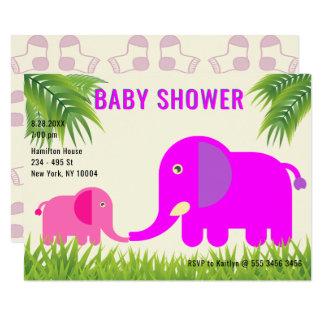 Baby Elephant Pink  | Magenta Mom Kissing Shower Card
