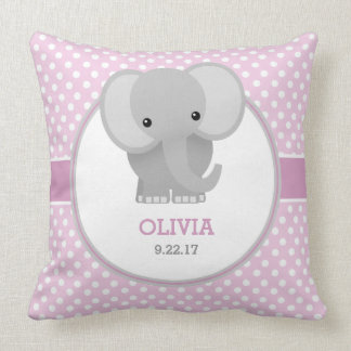 Baby Elephant (pink) Throw Pillow