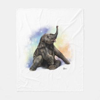 Baby Elephant Playing Fleece Blanket