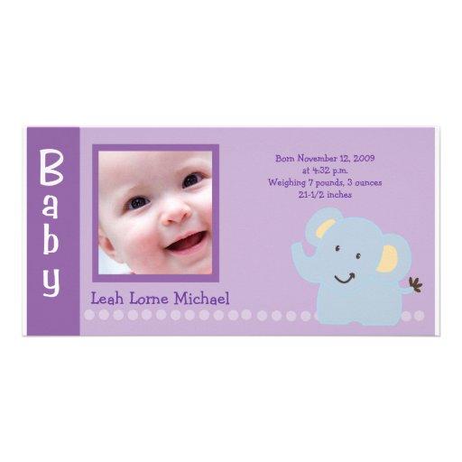 Baby Elephant Purple 4x8 PHOTO Birth announcement Custom Photo Card