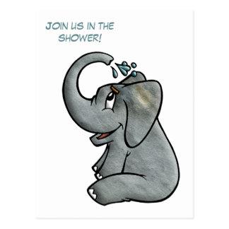 Baby Elephant Shower Postcard