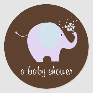 Baby Elephant Shower Seal Round Stickers