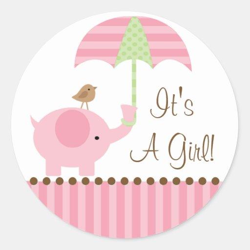 Baby Elephant Umbrella It's A Girl Sticker