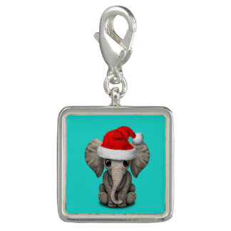 Baby Elephant Wearing a Santa Hat