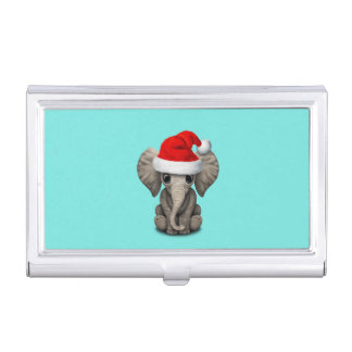Baby Elephant Wearing a Santa Hat Business Card Holder