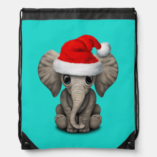 Baby Elephant Wearing a Santa Hat Drawstring Bag
