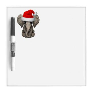 Baby Elephant Wearing a Santa Hat Dry Erase Board