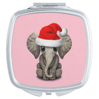 Baby Elephant Wearing a Santa Hat Makeup Mirrors