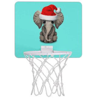 Baby Elephant Wearing a Santa Hat Mini Basketball Hoop