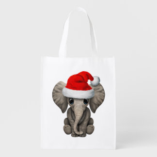 Baby Elephant Wearing a Santa Hat Reusable Grocery Bag