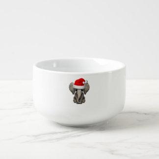 Baby Elephant Wearing a Santa Hat Soup Mug