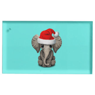 Baby Elephant Wearing a Santa Hat Table Number Holder