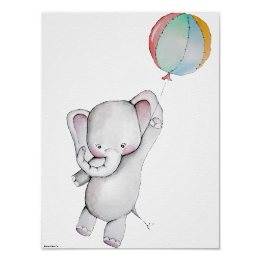 baby elephant with balloon customisable poster zazzle. Black Bedroom Furniture Sets. Home Design Ideas