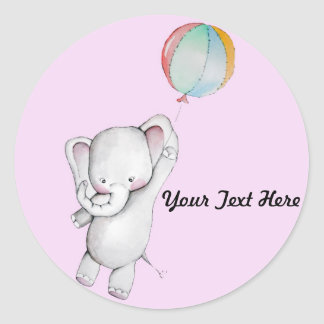 Baby Elephant with Balloon Pink Stickers