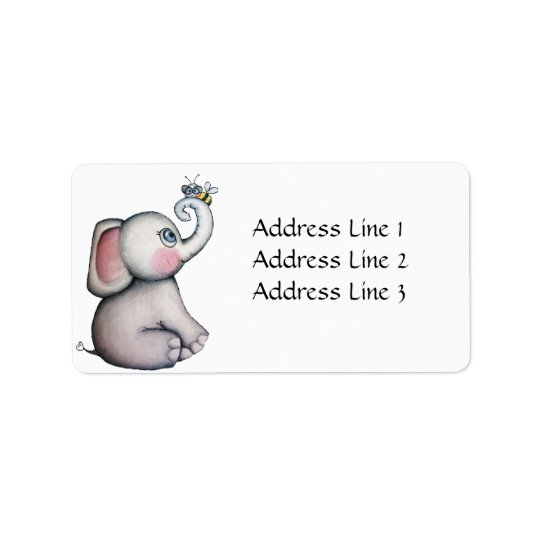 Baby Elephant with Bee Address Label