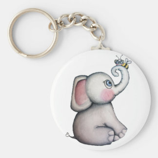Baby Elephant with Bee Keychain