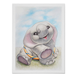 Baby Elephant with Hula-Hoop Nursery Print