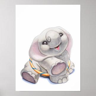 Baby Elephant with Hula-Hoop Nursery Print