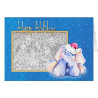 Baby Elephant with Santa Hat Card