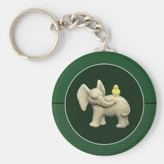 Baby Elephant & Yellow Duck Basic Round Button Key Ring