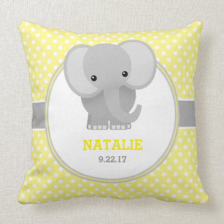 Baby Elephant (yellow) Throw Pillow