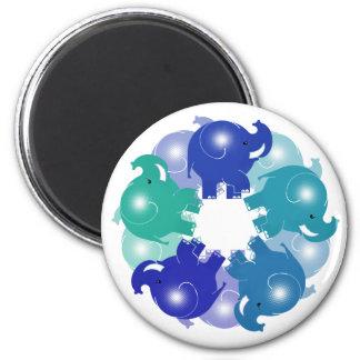 BABY ELEPHANTS BLUE 6 CM ROUND MAGNET