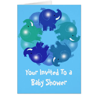 BABY ELEPHANTS BLUE GREETING CARD