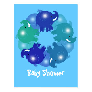 BABY ELEPHANTS BLUE POSTCARD