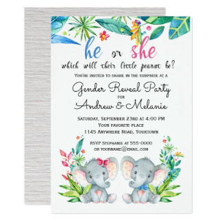 Baby Elephants Jungle Gender Reveal invitation