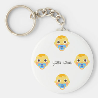 "Baby Emoji Face  and '' Your Name Here "" Key Ring"