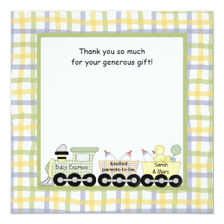 Baby Express Train Baby Shower Thank you note 13 Cm X 13 Cm Square Invitation Card