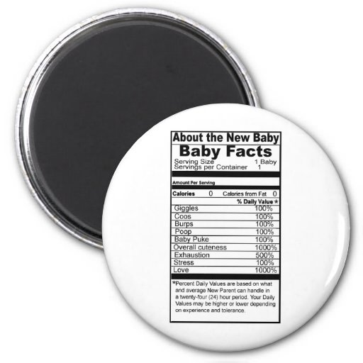 Baby Facts read the label Fridge Magnet
