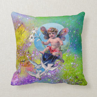 BABY FAIRY,DOVES GREEN PURPLE SPARKLES Baby Shower Cushion
