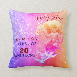 BABY FAIRY,DOVES PINK BLUE SPARKLE Baby Girl Stats Cushion