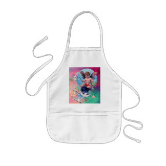 BABY FAIRY WITH DOVES IN SPARKLES pink green Apron