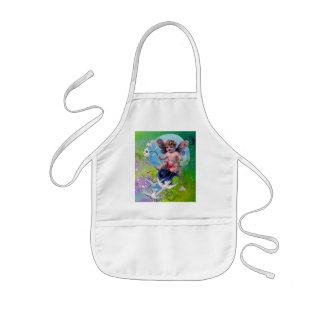 BABY FAIRY WITH DOVES IN SPARKLES violet green Kids Apron