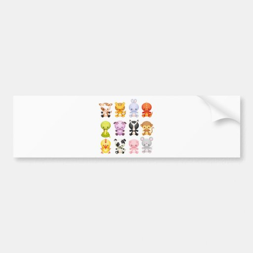 Baby Farm Animals Piggy Cow Mouse Snake Rabbit Bumper Sticker
