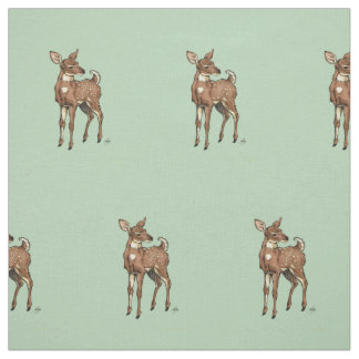 Baby Fawn with mint background Fabric