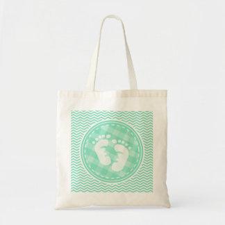 Baby Feet Aqua Green Chevron Bags